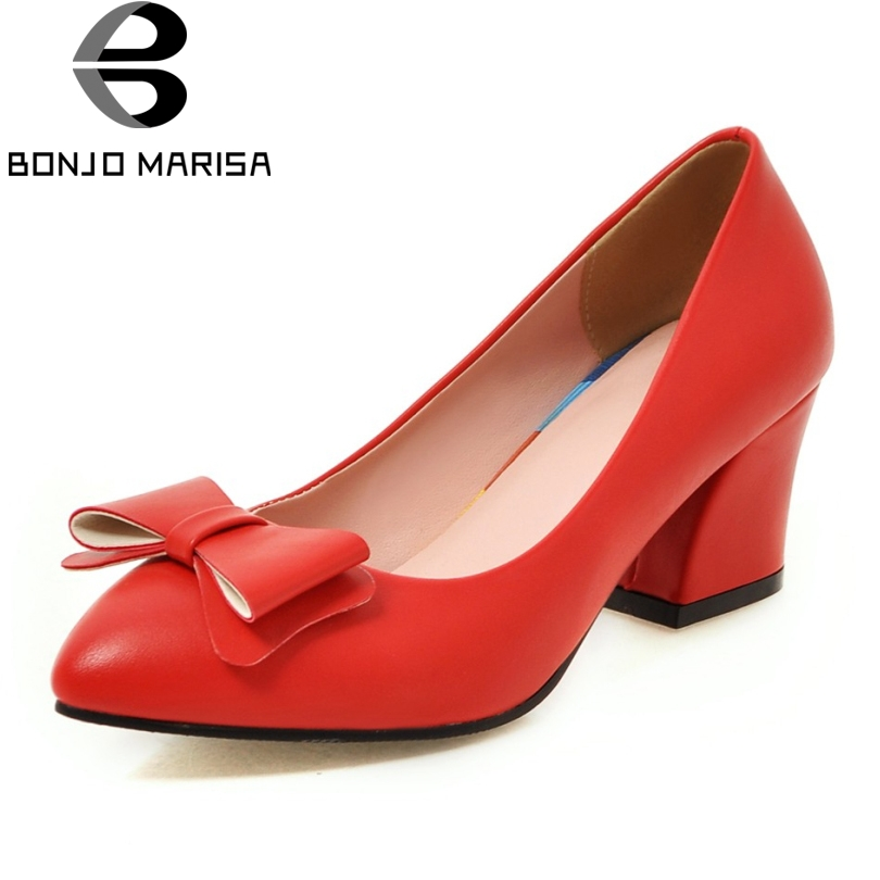 BONJOMARISA Big Size 33 43 New Office Lady Women Dress Sweet Bowtie Shoes Vintage Chunky Heels
