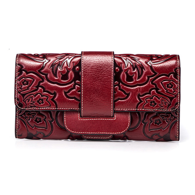 Top Quality Genuine Leather Women Clutch Bag Handy Purse Chinese Style Multi-Cards Fashion Money Clip Coin Embossed Long Wallet