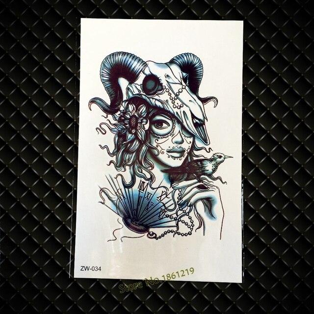1pc Water Transfer Sheep Head Tattoo Stickers Skull Punk Girl