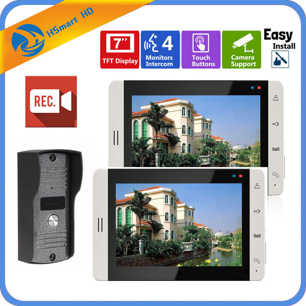 7 inch Video Doorbell Touch Monitor Intercom Outdoor Camera Night Vision Unlock Intercom System SD Record