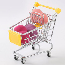 Creative Simulation Mini Child Shopping Cart Trolley For  Storage Basket Home Decorations