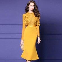 Весеннее элегантное женское платье с длинным рукавом и кружевным стоячим воротником, обтягивающее винтажное платье русалки, Vestidos, сексуальное офисное женское платье