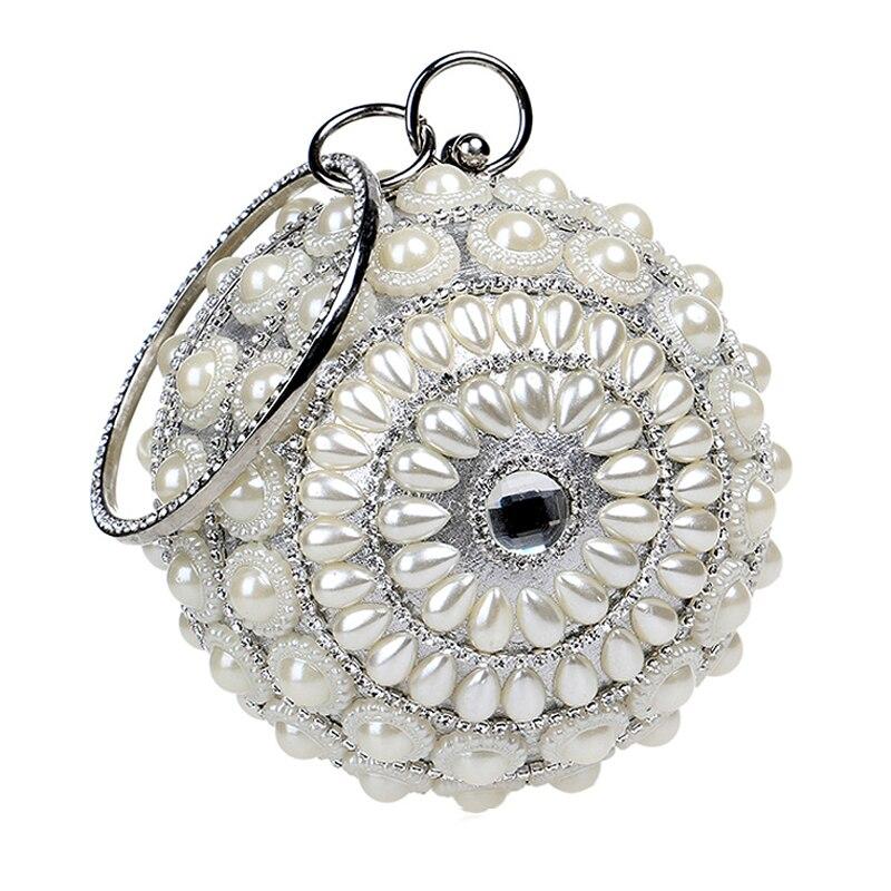Las mujeres Bolso de Mano-moldeado Exquisito Diamante de La Perla Bola Redonda C