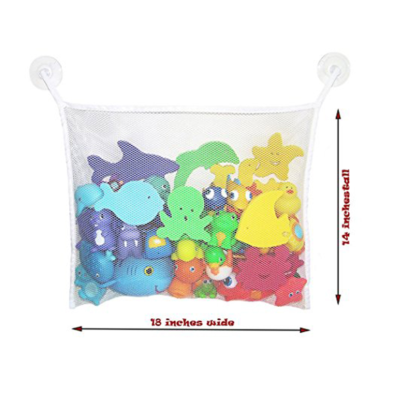 "Bath Toy Organizer Mould proofing Mesh Bag, Large (18 ""x14"") and Clean Net Storage Bag + 6 Bonus Suction Quality Bonus"
