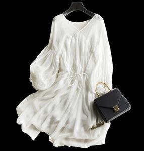 Image 4 - Women Dress 100%Real Silk A Line Round Collar Long Dress 2020 Summer Elegant Silk Dress Vestidos