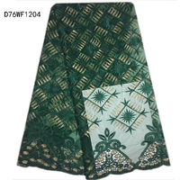 Green Fashion African Lace fabric,embroidery French lace fabric for popular wedding/party dress,5 yds/lot Free shipping! D76WF12