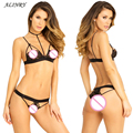 2017 NEW sexy Lingerie set 2 Colors Three Point Bikini Perspective Temptation lace bra Hollow-out Underpants erotic lingerie