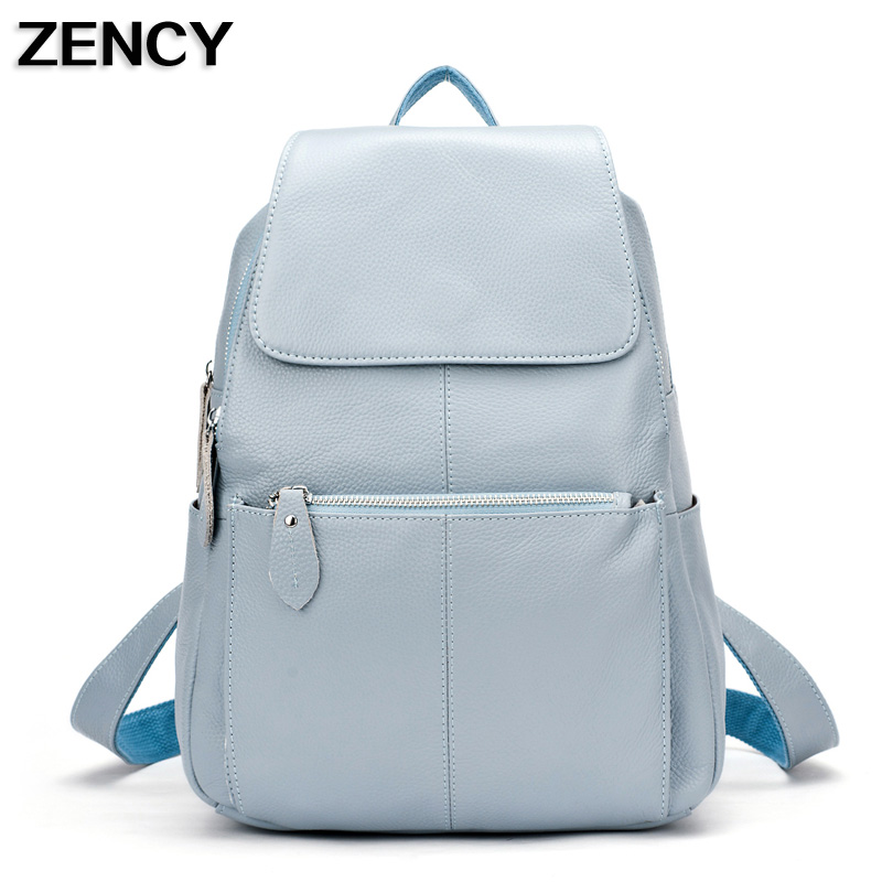 ZENCY 2017 Backpack 100% Genuine Leather Backpacks Natural Soft <font><b>Real</b></font> First Layer Cow Leather Top Layer Cowhide Women School Bag