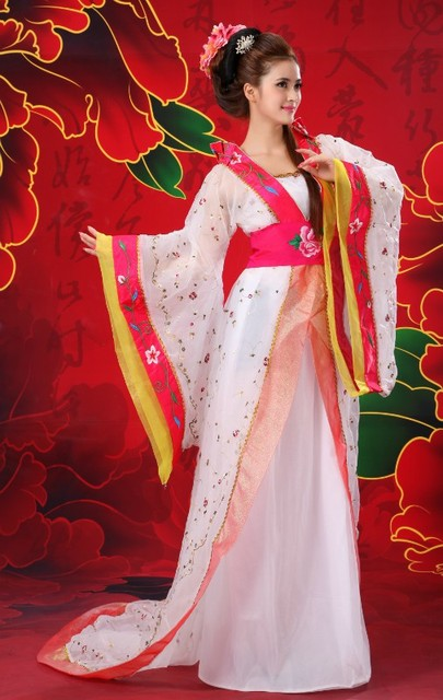 78434a2d2d8 Ancient Chinese Traditional National Costume Stage Costume Hanfu Women  Tailing Dresses Clothing Set Chinese Folk Dance