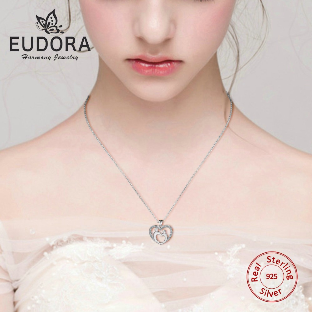 Eudora Real 925 Sterling Silver Mom & Baby Crystal Heart Pendant AAA CZ Necklace Fine Jewelry for women Mother son daughter gift yoursfs fashion jewelry women s necklace with heart pendant white gold plated crystal engraved mom for women gift