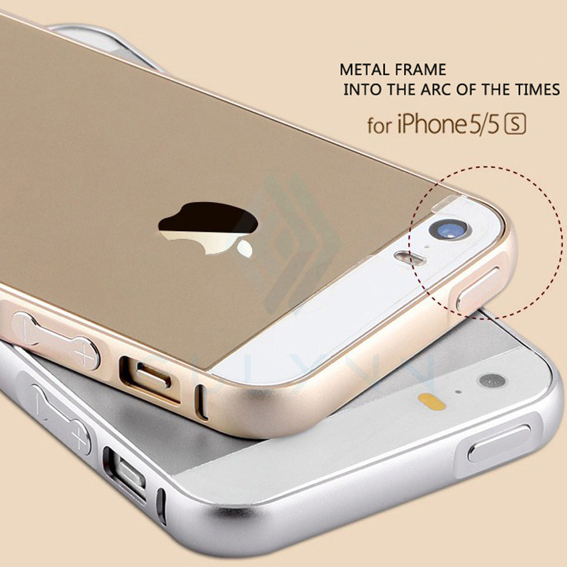 2016 New For iphone 5s case Metal Aluminum Acrylic Phone Case for iPhone 5s Accessories Protective case for Apple iphone 5 5s in Phone Bumpers from Cellphones Telecommunications