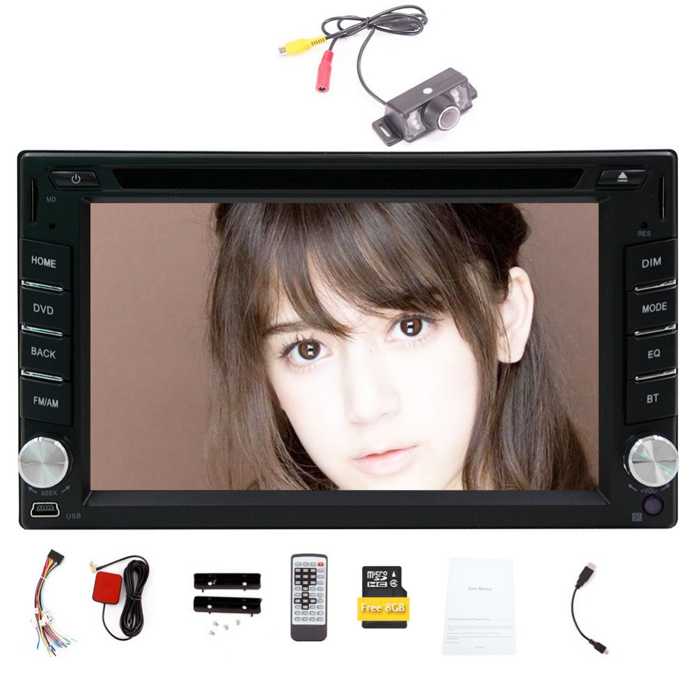 Hot sale 2 din Wince 6.0 car dvd player GPS Nav audio stereo Bluetooth Camera in dash car cd player FM car radio Free 8GB map