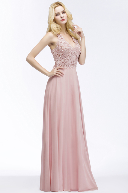 Babyonlinedress Sexy V Neck Pink Lace Chiffon Long Evening Dress Elegant Sleeveless Evening Gowns with Pearls Abendkleid