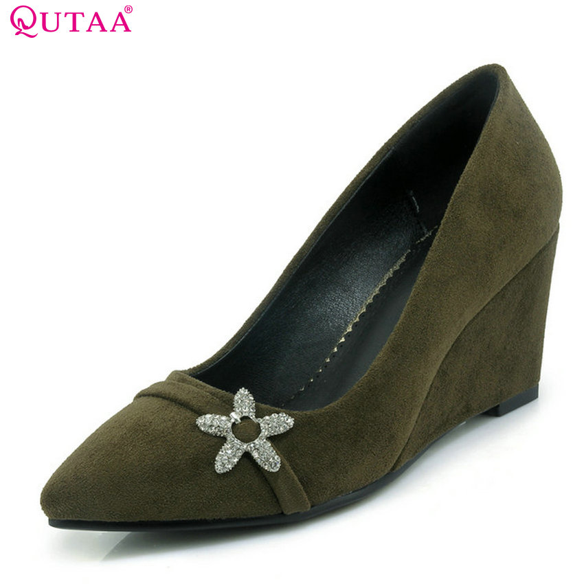 QUTAA 2018 Women Pumps Wedges Heel Pointed Toe Red Wedding Shoes Shallow Elegent Spring and Autumn Women Pumps Szie 33-42 siketu 2017 free shipping spring and autumn women shoes fashion sex high heels shoes red wedding shoes pumps g107