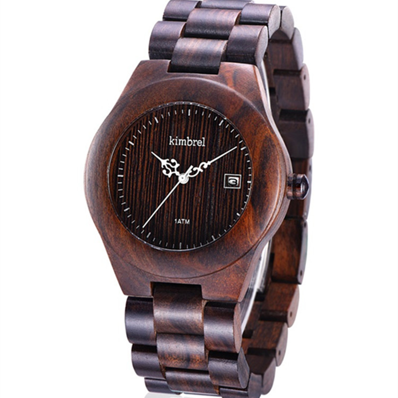 Fashion Brand Women Wooden Watch New Year Gift Bangle Quartz Watch with Calendar Display Role Women