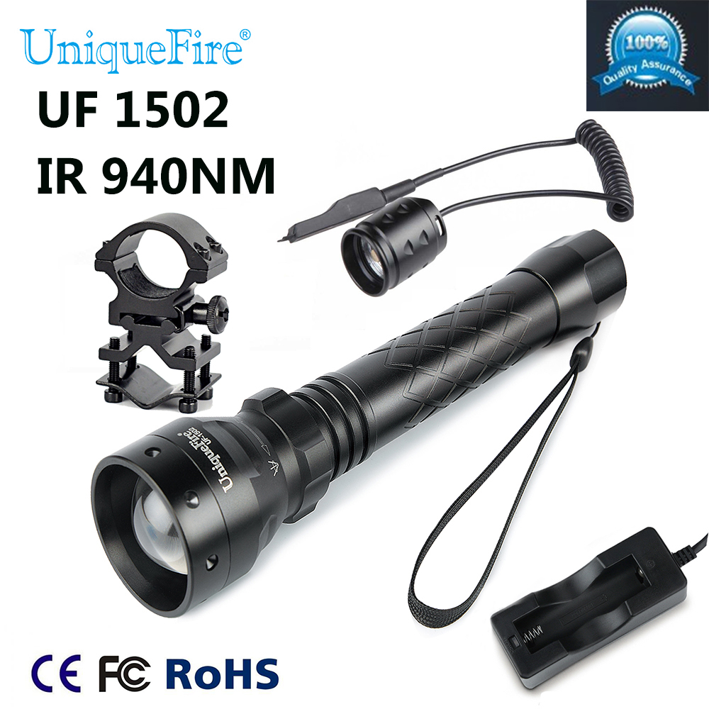 Uniquefire 1502 940NM IR LED Adjustable Zoomable IR Flashlight Torch Light + Tactical Remote + Charge +Scope Mount For Hunting 3800 lumens cree xm l t6 5 modes led tactical flashlight torch waterproof lamp torch hunting flash light lantern for camping z93