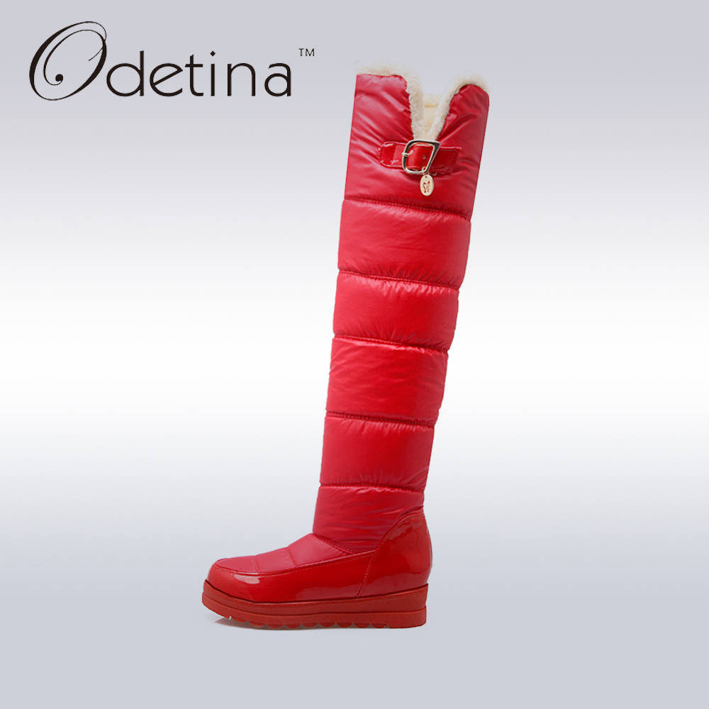 Odetina 2017 New Winter Over The Knee Snow Boots Warm Plush Thigh High Boots Women Platform Shoes Flat Fashion Large Size 34-43 new sexy women boots winter over the knee high boots party dress boots woman high heels snow boots women shoes large size 34 43