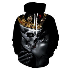 Men 3D print crownskull The streets hoodies 3DHip hop jumper Men's clothing hoodies(China)
