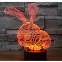 3D LED Night Light Little Rabbit With 7 Colors Light For Home Decoration Lamp Amazing Visualization