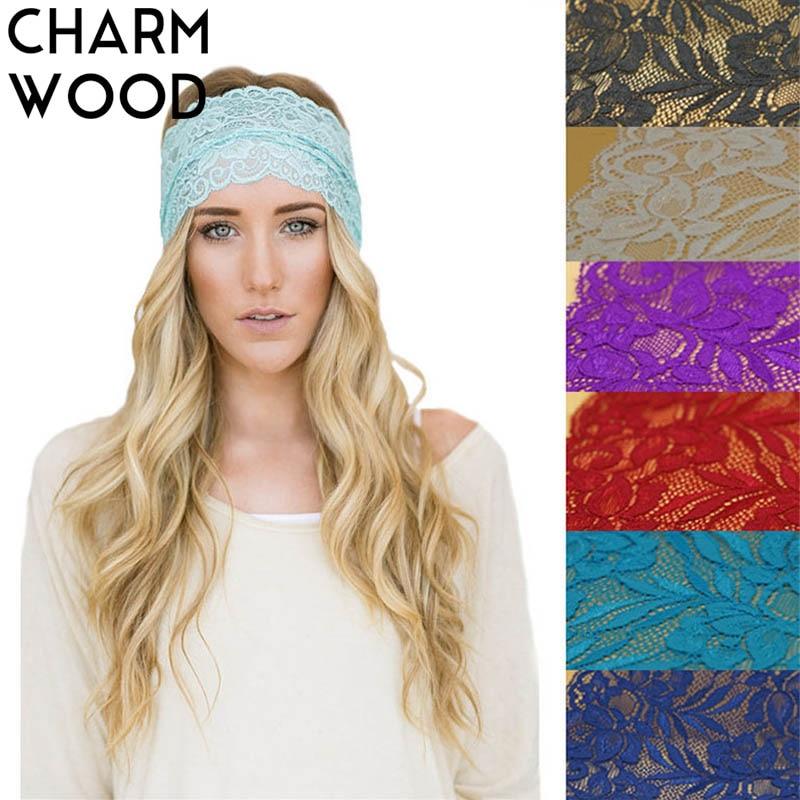 CHARM WOOD Women Lace Wide Elastic Headband Summer Fashion Breathable Boho Hairband for Girls Turban Knitted Spa Head Band JC078