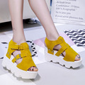 COOTELILI 35-39 Summer Sandals Casual Women Shoes Fashion Platforms Back Strap Soft Leather Flats Wedges Velcro Sandals