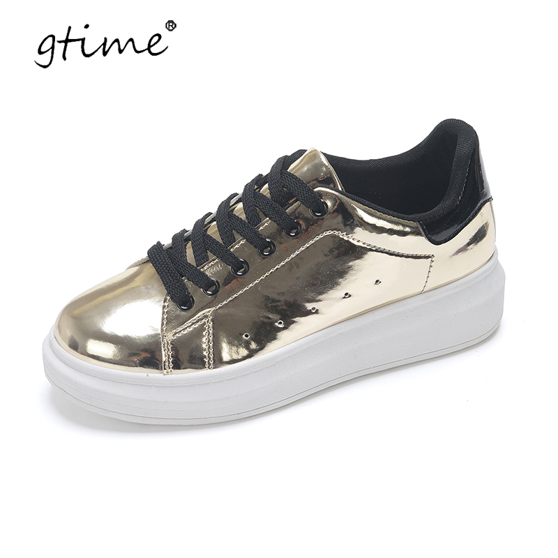 Gtime 2017 Patent Leather Creepers Platform Shoes Woman 2017 Casual Loafers Gold Silver Flats Lace-Up Women Shoes ZWS216 phyanic 2017 gladiator sandals gold silver shoes woman summer platform wedges glitters creepers casual women shoes phy3323