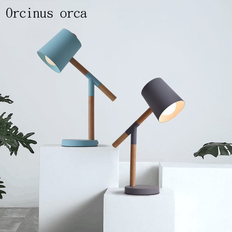 Nordic modern simple candy table lamp bedroom bedside lamp creative solid wood reading LED iron desk lamp free shipping modern minimalist wood desk lamp creative bedroom bedside lamp decorative cloth desk lamp free shipping