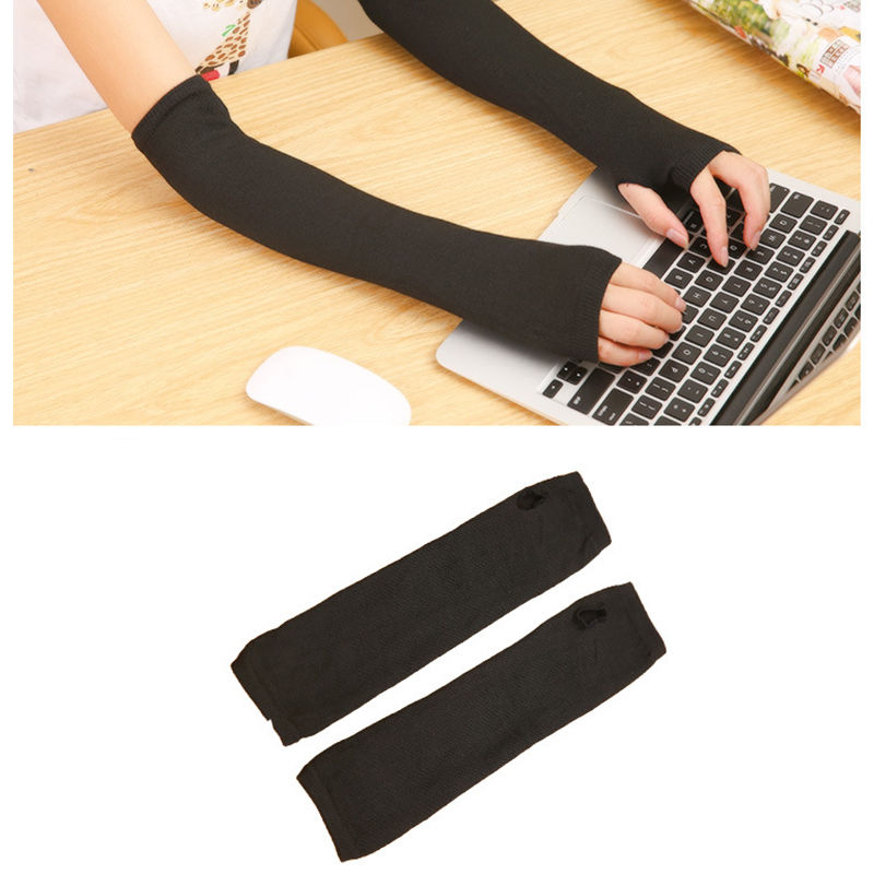 1 Pair Women Stretchy Long Fingerless Gloves Cashmere Blend Arm Warmers Sleeves Clothing Accessories