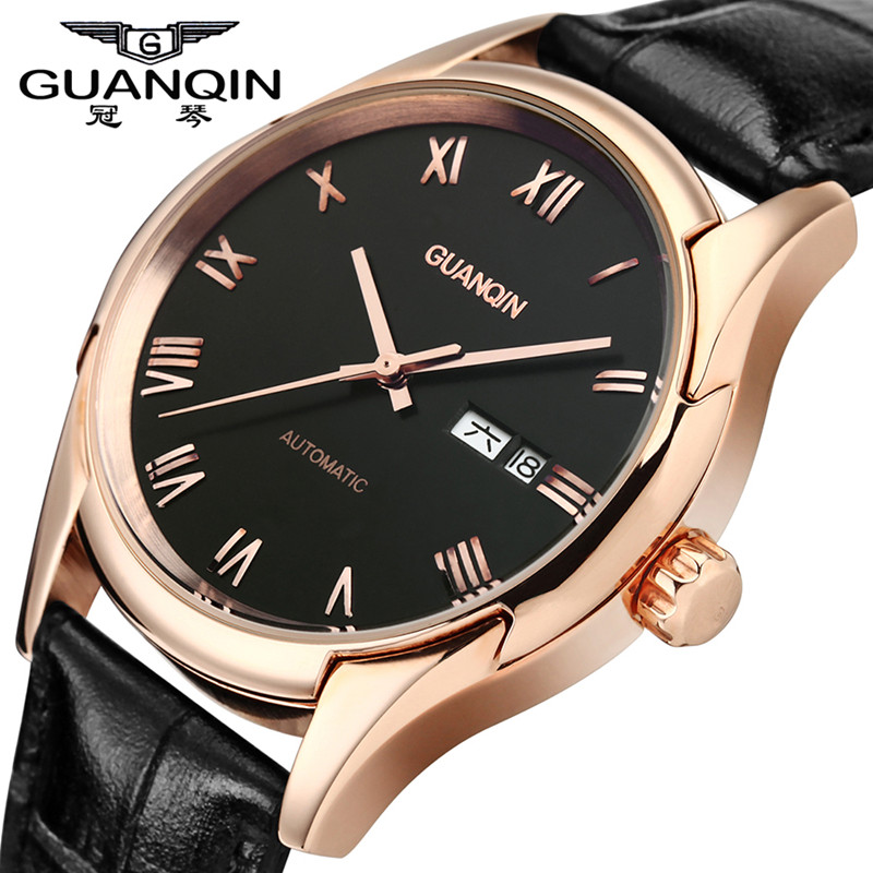 Original GUANQIN Men Watch Luxury Sapphire Watches Mechanical Men Leather Wristwatches for Men Shockproof Waterproof Watches