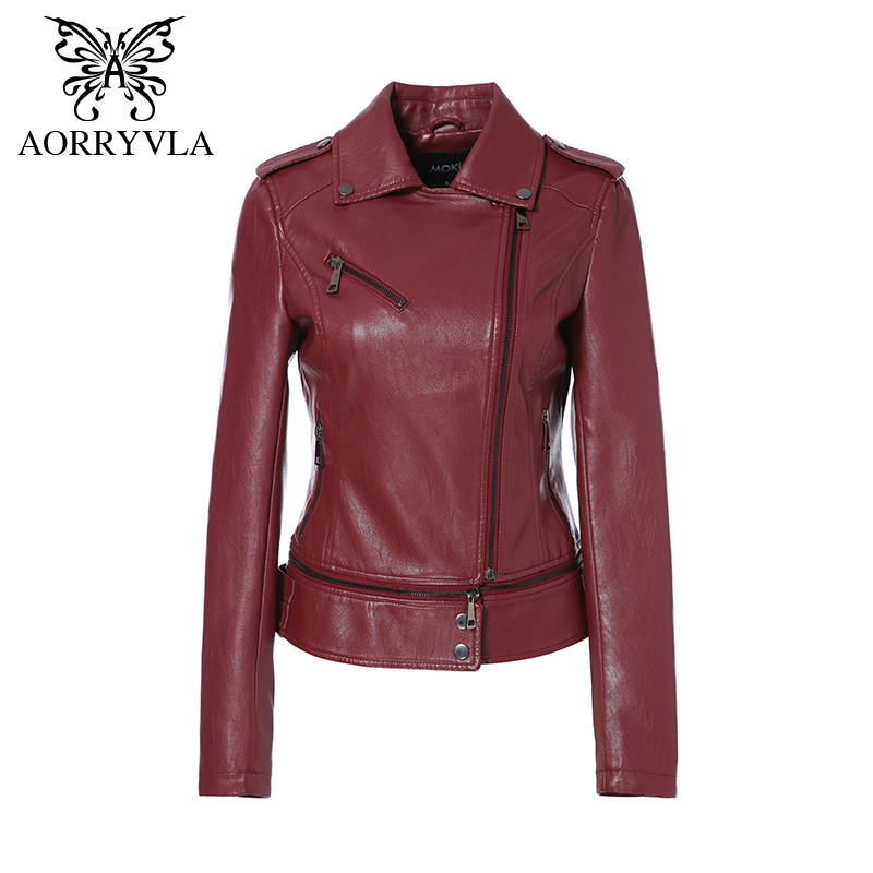 AORRYVLA 2018 Autumn Women Jacket Faux   Leather   Full Sleeve Zipper Short Length Biker Ladies   Leather   Jacket Lower Edge Detachable
