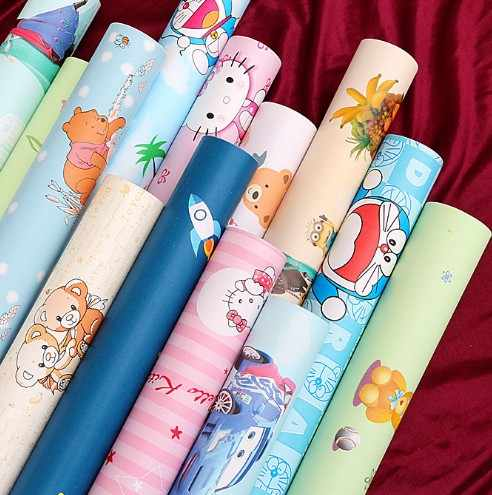Home decor Self adhesive vinyl decorative cartoon wallpaper blue color wall stickers cartoon wallpaper for kids room 0.45m*10m