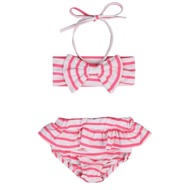 20ff8d8771fd2b Kids Peuter Baby Meisjes Gestreepte Ruches Boog Badmode Halter Badpak  Badpak Bikini Tankini Set Beachwear Zomer