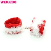 Красный нейлон плюшевые наручники наручники секс игрушки бдсм связывание набор bdsm секс игрушки для пар взрослые игры эротические игрушки