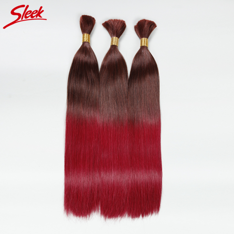 Sleek 10A Girls Braiding Hair Bulk T32/530 Brazilian High Quality Virgin Hair Straight Ombre Human Hair 3PCS/Lot