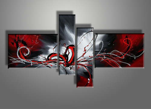 Abstract Art Oil Painting Black And Red Wall Art For Living Room Decorative  Hand Painted