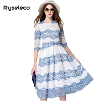 2016 Summer European Runway Fashion Mid Calf Swing Dresses Women Slim Sexy Brief Prints Lace Beach