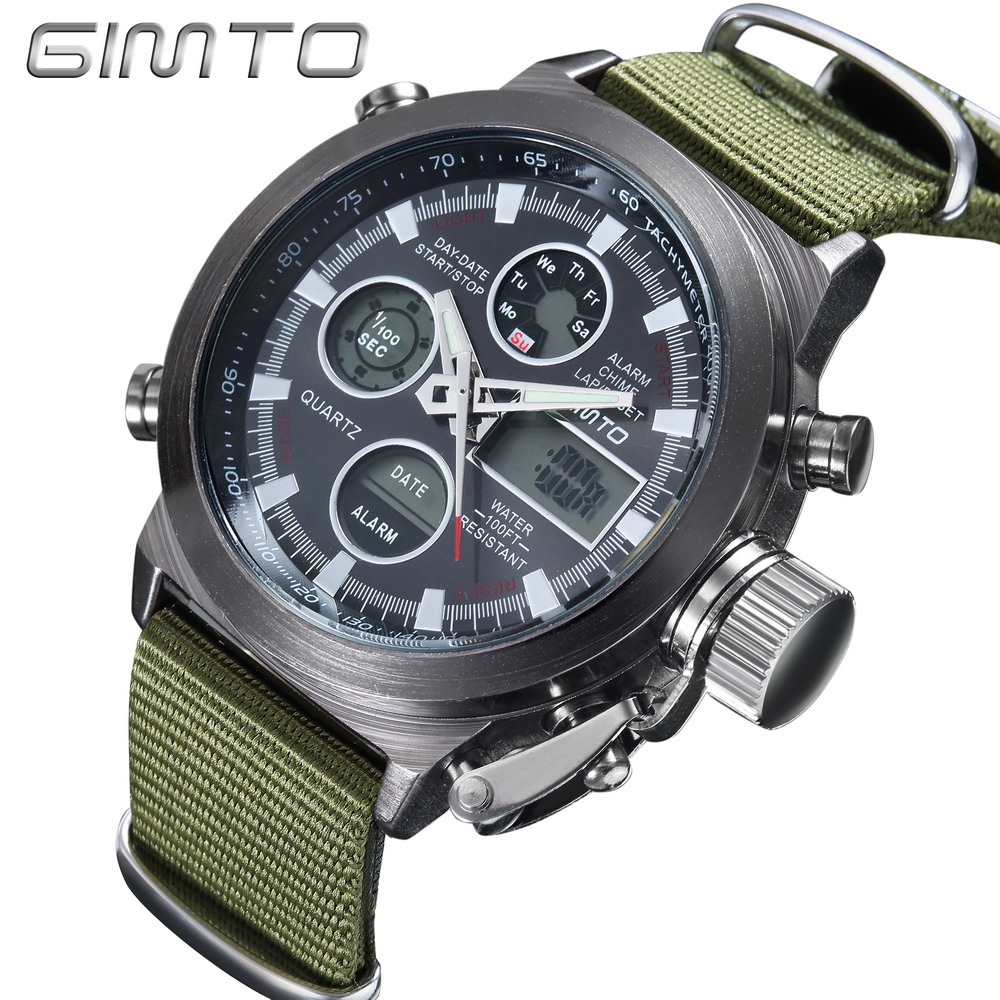 GIMTO Men Sport Watches Dual Time Military Date Clock Digital Watch Men Shock Army Leather Nylon