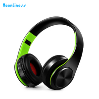 Moonliness Wireless Bluetooth Headphones Stereo Foldable Headset HiFi Hand Free Earphone With Microphone Music For Fm