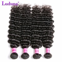 Luduna Human Hair Bundles Deep Wave Brazilian Hair Weave Bundles Non-remy Hair Extension Natural Color Can Buy 3 or 4 Bundles