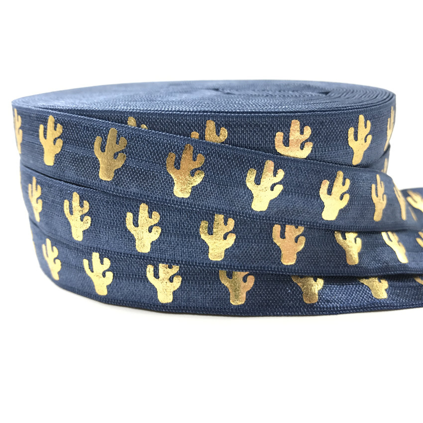 5 Yards 58 inch Printed FOE White and Gold Metallic Palm Tree Print Fold Over Elastic Elastic for Baby Headbands and Hair Ties