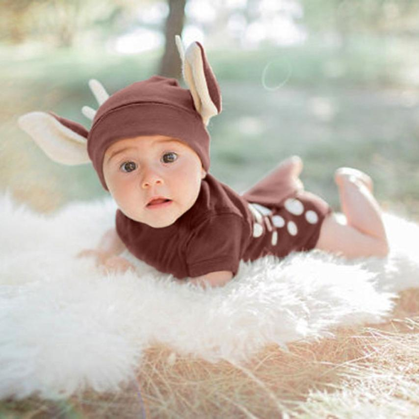 Newborn Clothing Sets Kids Baby Boys Girls Outfits Clothes Deer Romper+Hat Jumpsuit Outfit Novelty Vestidos Photography Props newest newborn photography props baby romper studio photography accessories lace romper back tie girls outfit baby girl lace