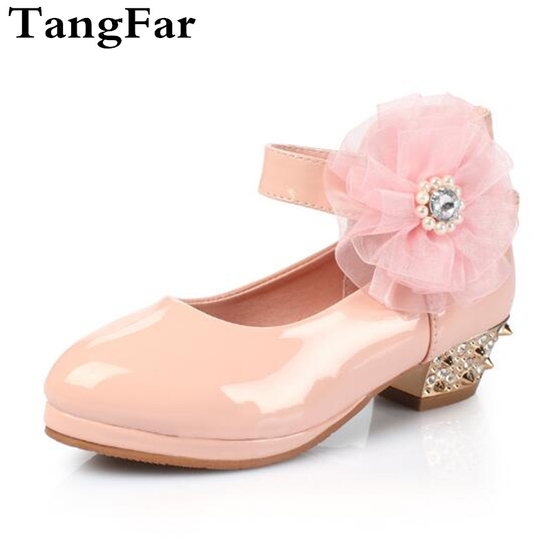 Childrens Patent Leather Shoes Fall New Girls High-heeled Platform Crystal Stage Performance Dance Shoes Rivet Flower Footwear