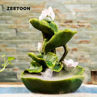 110V 220V Pastoral Style Water Fountain Resin Lotus Flower Leaves Water Flow Waterscape Feng Shui Decor Crafts Ornament Fountain