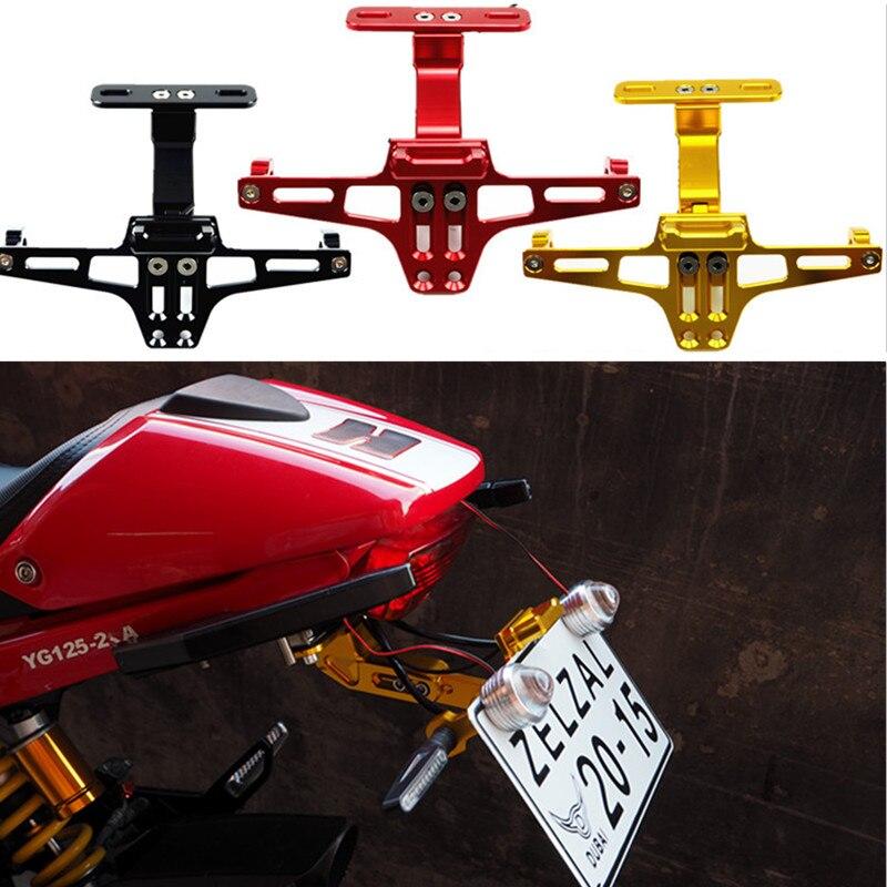 CNC Motorcycle License Number <font><b>Plate</b></font> Holder Bracket With LED Light For Honda Suzuki <font><b>Yamaha</b></font> R1 R6 R3 FZ1 FZ6 MT07 MT09 XJ6 TMAX