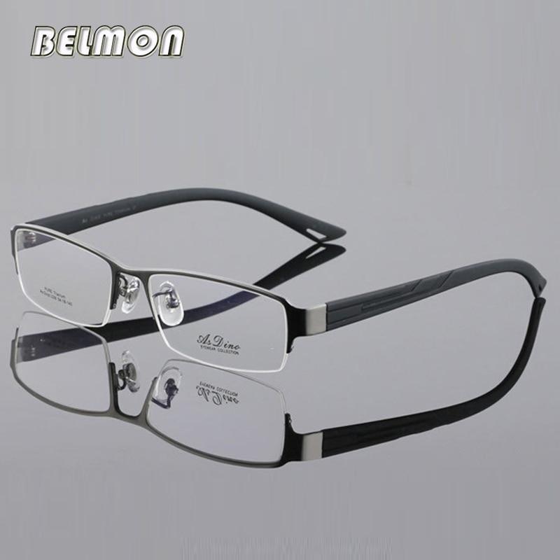 Belmon Pure Titanium Men Spectacle Frame Eyeglasses Computer Optical Clear Lens Eye Glasses Frame For Male de grau RS407