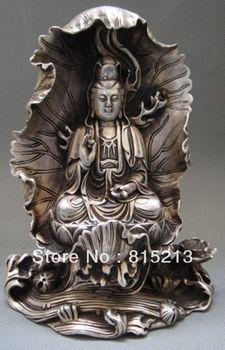 Bi00431 Тибетский тибетский буддийский Серебряный Бодхисаттва Гуань Инь Кван-Инь статуя Будды