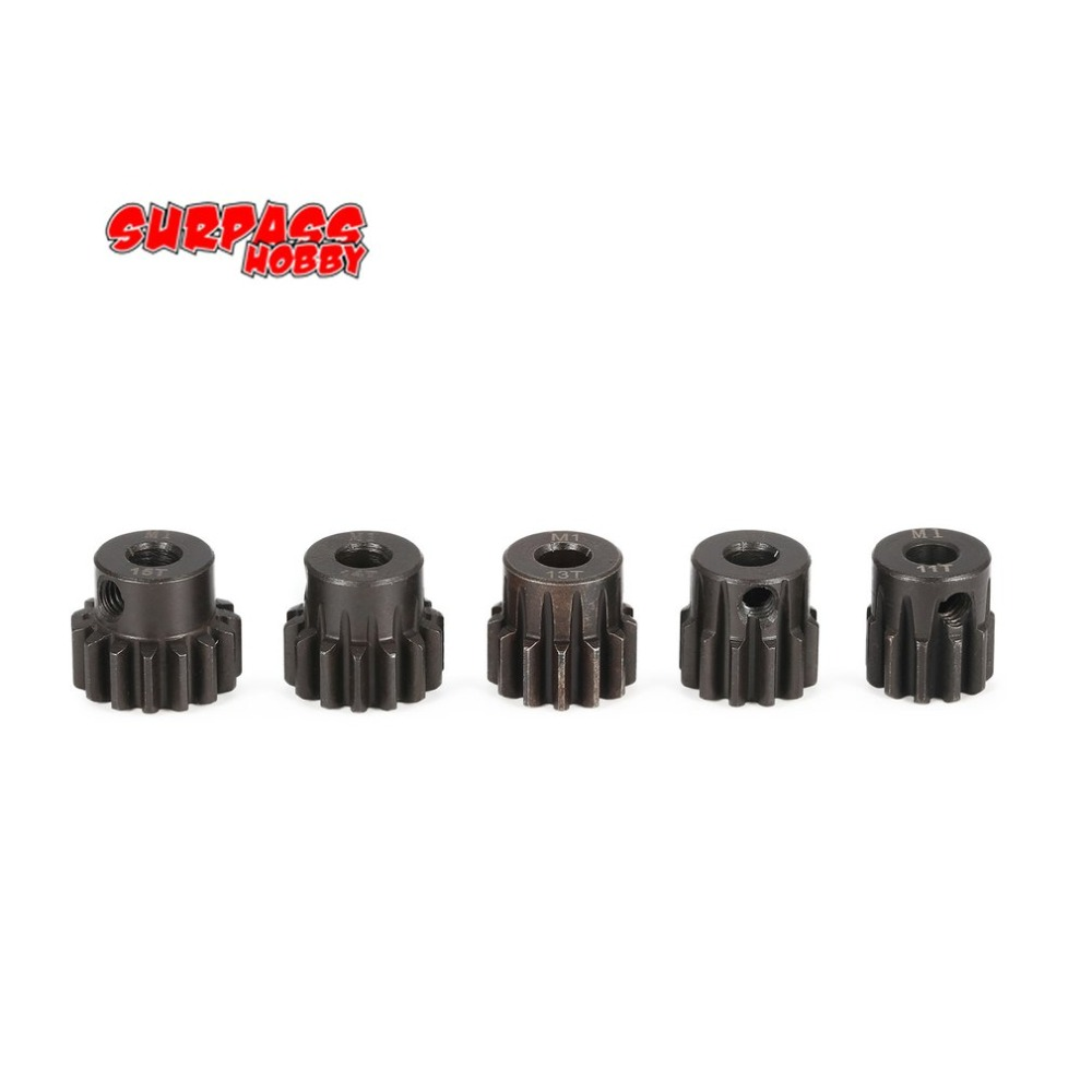 SURPASS HOBBY 5Pcs M1 5mm 11T 12T 13T 14T 15T Metal Pinion Motor Gear Set for 1/8 RC Car Truck Brushed Brushless Motor hot sale m1 5mm 18t 19t 20t 21t 22t shaft steel pinion motor gear combot set for 1 8 off road buggy truck rc car brushed brush
