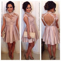 Sexy Open Back Cocktail Dresses Short A Line High Neck Lace Taffeta Elegant China Actual Photo Homecoming For Wedding Party