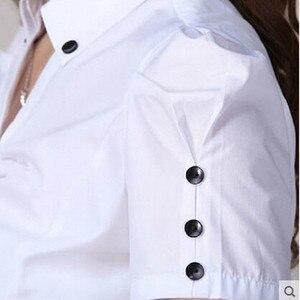 Image 5 - Hot female summer short sleeve women shirt work wear OL formal casual plus size blouse Slim V stand collar office top S XXXL