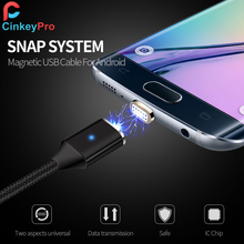 CinkeyPro Magnetic Micro USB Cable For Samung XiaoMi Android Nylon LED Light 5V2A Mobile Phone Charging Universal 1M Data Cables